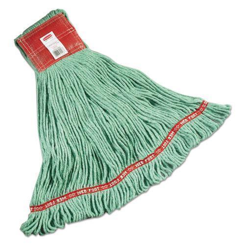 Rubbermaid Web Foot Wet Mops, Cotton-synthetic, Green, Large, 5-In. Red Headband, 6-carton-Rubbermaid® Commercial-Omni Supply