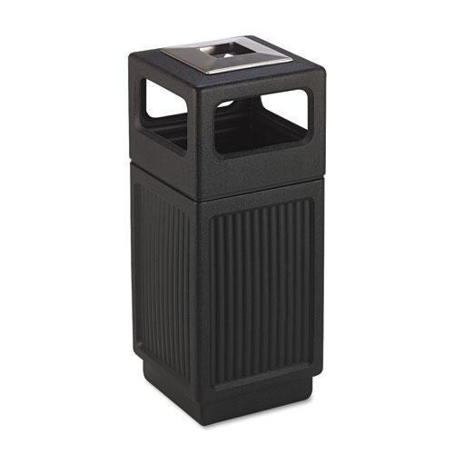 Safco Canmeleon Ash-trash Receptacle, Square, Polyethylene, 15gal, Textured Black-Safco®-Omni Supply