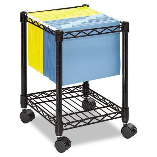 Safco Compact Mobile Wire File Cart, One-Shelf, 15-1-2w X 14d X 19-3-4h, Black-Safco®-Omni Supply