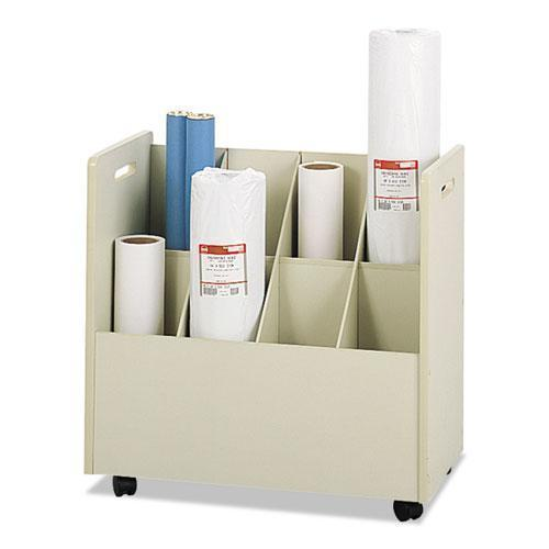 Safco Laminate Mobile Roll Files, Eight Compartments, 30-1-8 X 15-3-4 X 29-1-4, Putty-Safco®-Omni Supply