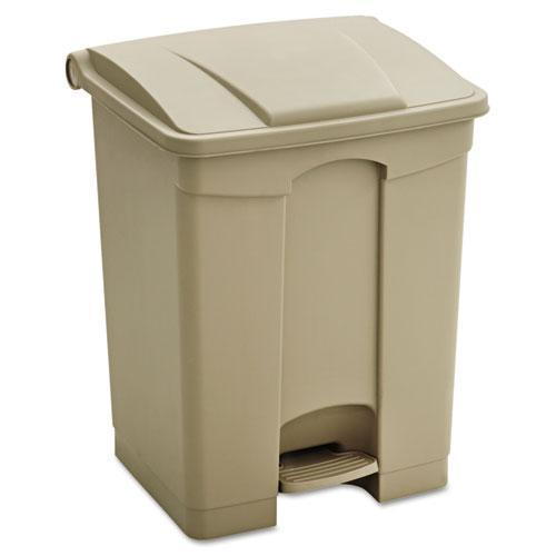 Safco Large Capacity Plastic Step-On Receptacle, 17gal, Tan-Safco®-Omni Supply