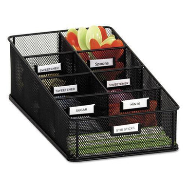 Safco Onyx Breakroom Organizers, 7 Compartments, 16 X8 1-2x5 1-4, Steel Mesh, Black-Safco®-Omni Supply