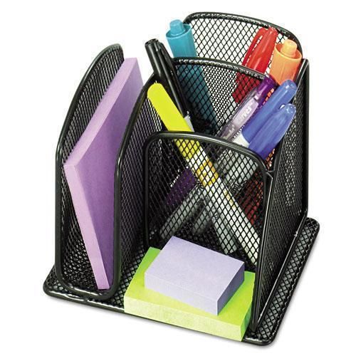 Safco Onyx Mini Organizer With Three Compartments, Black, 6 X 5 1-4 X 5 1-4-Safco®-Omni Supply