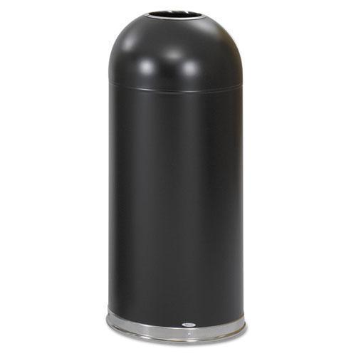 Safco Open-Top Dome Receptacle, Round, Steel, 15gal, Black-Safco®-Omni Supply