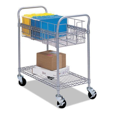 Safco Wire Mail Cart, 600-Lb Cap, 18-3-4w X 26-3-4d X 38-1-2h, Metallic Gray-Safco®-Omni Supply