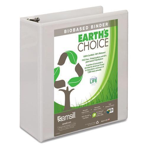 "Samsill EARTH'S CHOICE BIOBASED D-RING VIEW BINDER, 3"" CAPACITY, WHITE-Samsill®-Omni Supply"