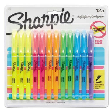 Sharpie Accent Pocket Style Highlighter, Chisel Tip, Assorted Ink, 12 Per Set-Sharpie®-Omni Supply