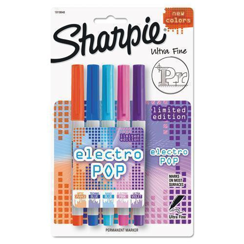 Sharpie Ultra Fine Electro Pop Marker, Assorted Colors, 5-pack-Sharpie®-Omni Supply