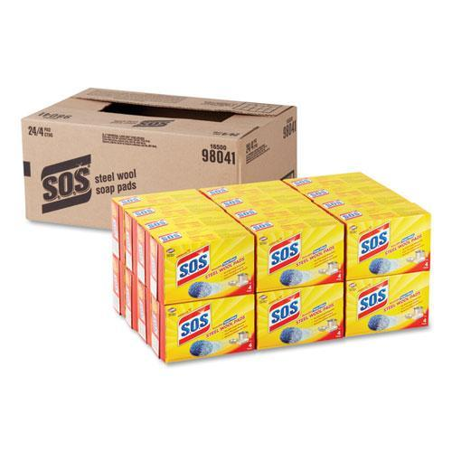S.O.S. Steel Wool Soap Pad, 4-box, 24 Boxes-carton-S.O.S.®-Omni Supply