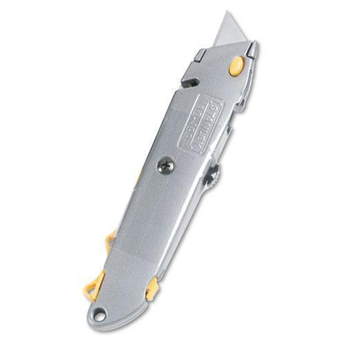 Stanley Quick-Change Utility Knife W-retractable Blade & Twine Cutter, Gray-Stanley®-Omni Supply