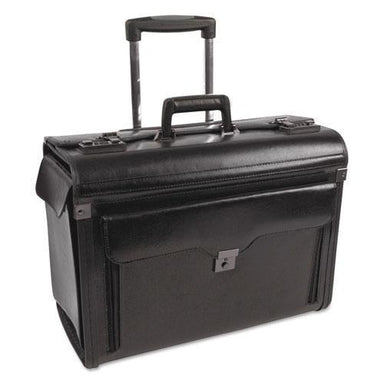 STEBCO CATALOG CASE ON WHEELS, LEATHER, 19 X 9 X 15-1-2, BLACK-STEBCO-Omni Supply