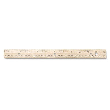 "Westcott Hole Punched Wood Ruler English And Metric With Metal Edge, 12""-Westcott®-Omni Supply"