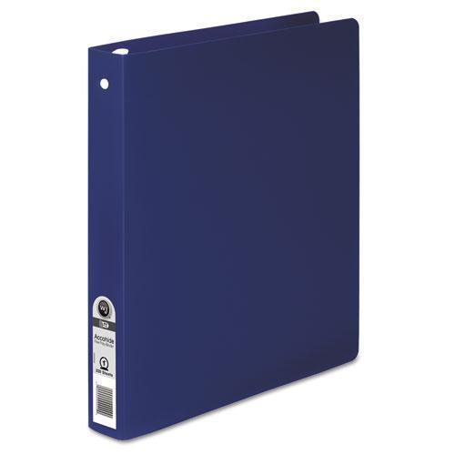 "WilsonJnes Accohide Poly Round Ring Binder, 35-Pt. Cover, 1"" Cap, Dark Blue-ACCO-Omni Supply"