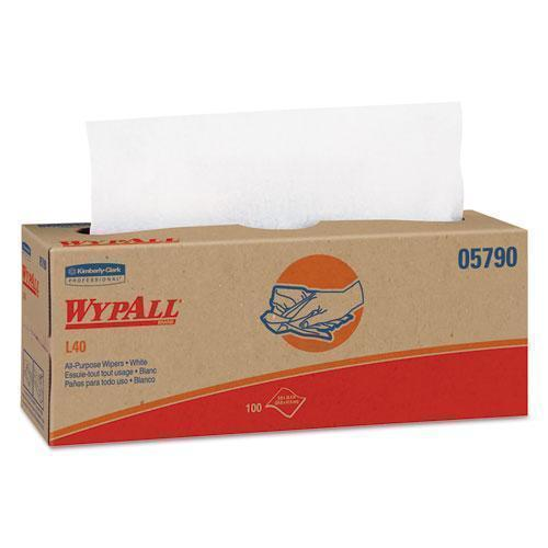Wypall L40 Towels, Pop-Up Box, White, 16 2-5 X 9 4-5, 100-box, 9 Boxes-carton-WypAll®-Omni Supply