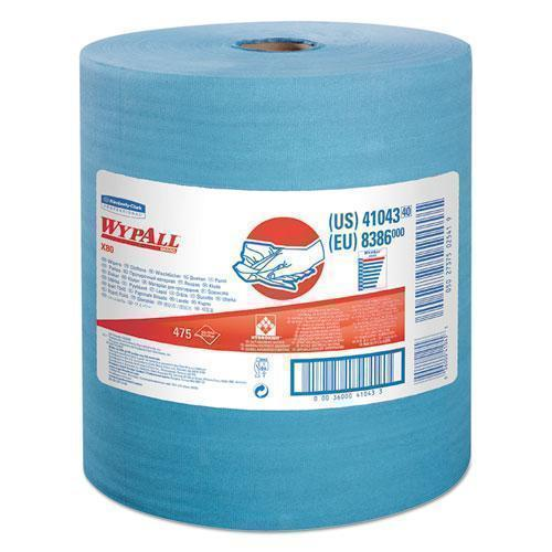 Wypall X80 Cloths With Hydroknit, Jumbo Roll, 12 1-2 X 13 2-5, Blue, 475-roll-WypAll®-Omni Supply