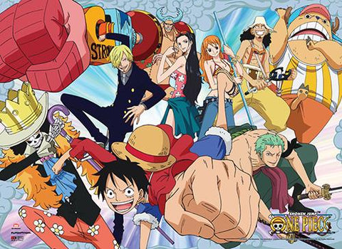One Piece: Group Luffy Punch Wall Scroll