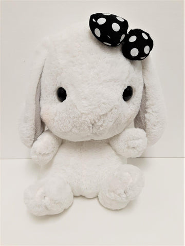 "Amuse: White Bunny Black Polka-Dot Bow 16"" Plush"