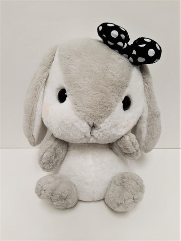 "Amuse: Grey Bunny Black Polka-Dot Bow 16"" Plush"