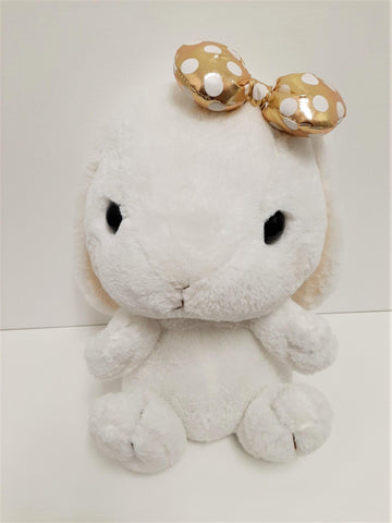 "Amuse: White Bunny Gold Polka-Dot Bow 16"" Plush"