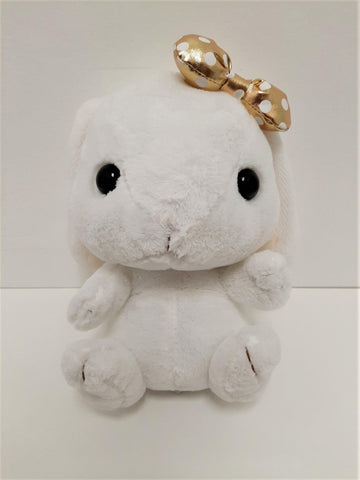 "Amuse: White Bunny Gold Polka-Dot Bow 10"" Plush"