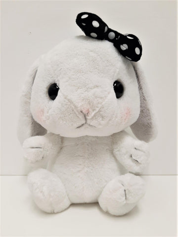 "Amuse: White Bunny Black Polka-Dot Bow 10"" Plush"