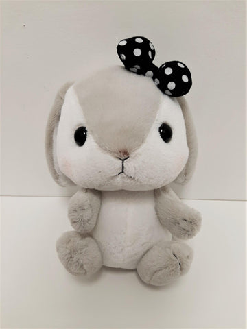 "Amuse: Grey Bunny Black Polka-Dot Bow 10"" Plush"