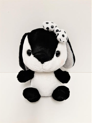 "Amuse: Black and White Bunny with Polka Dot Bow 10"" Plush"