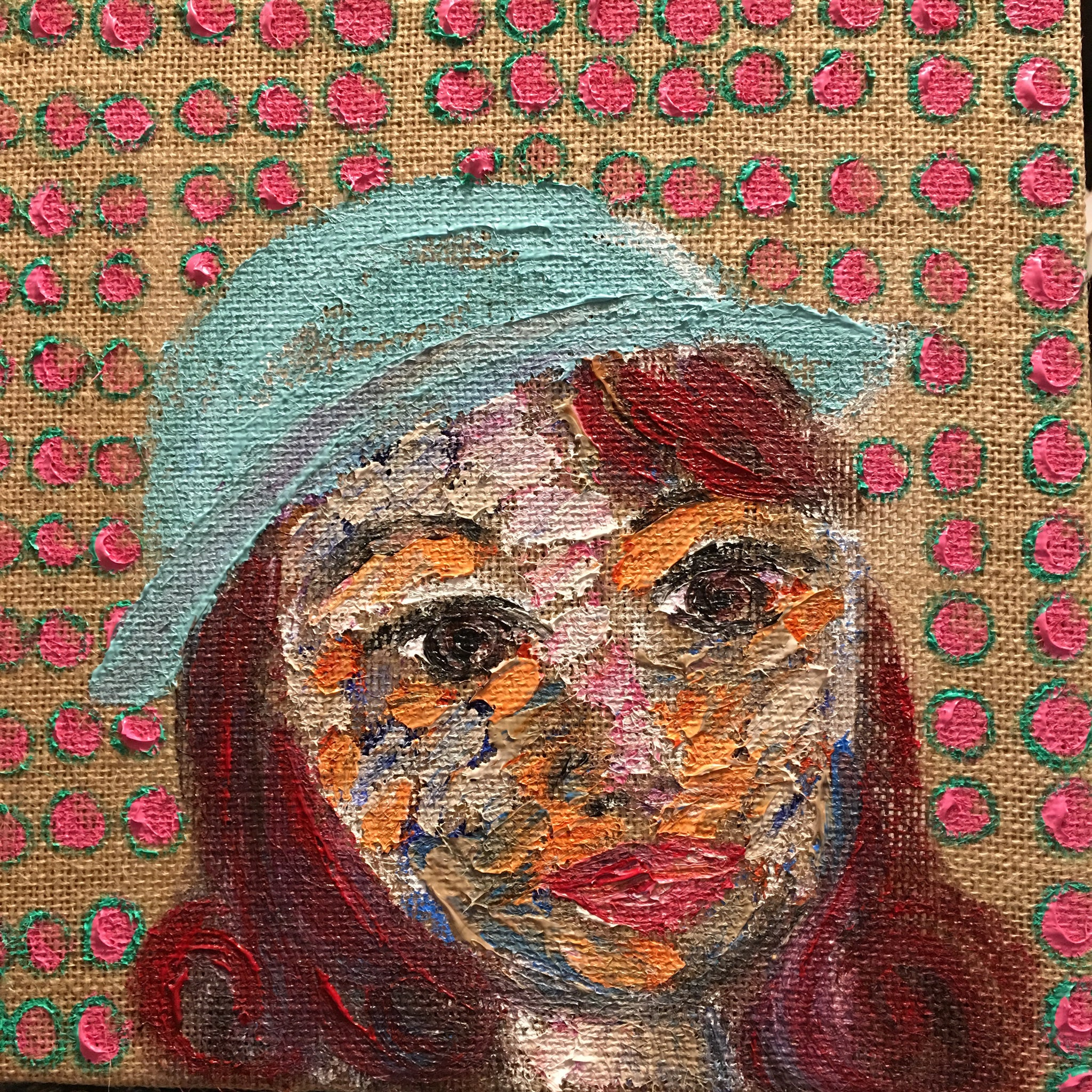 "Meet ""Rise to the Occasion Kate,"" 12 x 12 Acrylic on Burlap"
