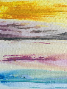 abstract sunrise landscape with bright colors