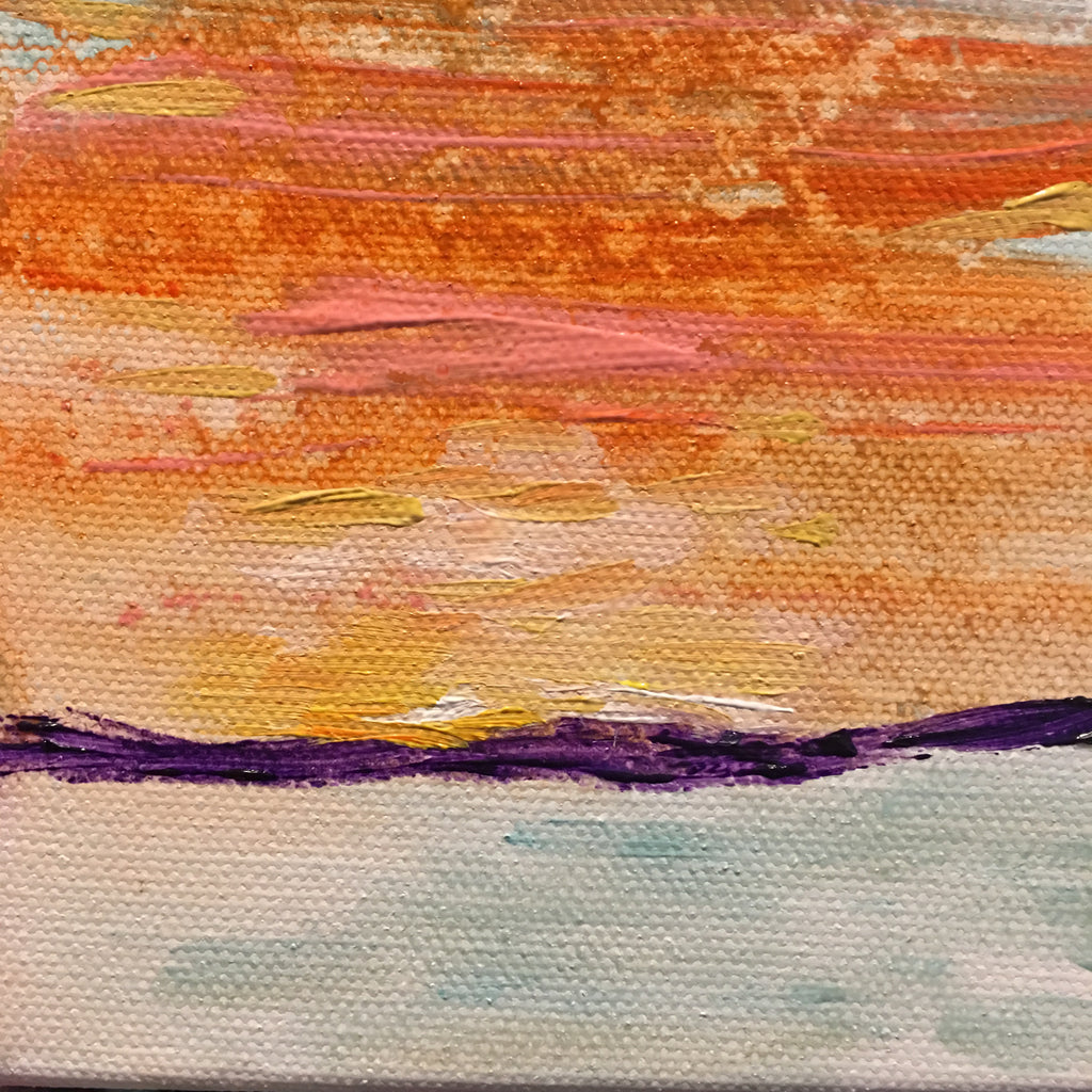 sea mountain and sky on abstract sunset