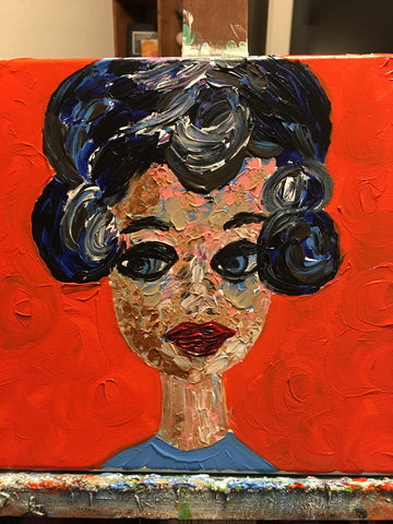 "Meet ""Mind Your Biscuits Beatriz,"" 12x12 Acrylic on Canvas."