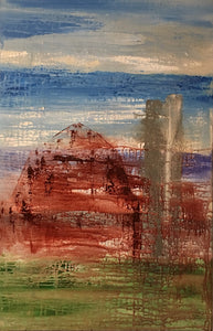 abstract old barn painting