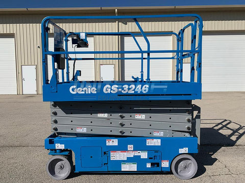 2008 GENIE GS3246 SCISSOR LIFT 32' REACH ELECTRIC SMOOTH CUSHION TIRES 566 HOURS STOCK # BF9247279-RIL