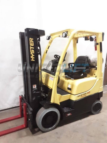 "2015 HYSTER S40FT 4000 LB LP GAS FORKLIFT CUSHION 82/189"" 3 STAGE MAST SIDE SHIFTER 8542 HOURS STOCK # BF9224329-NCB"