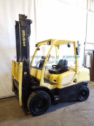"2014 HYSTER H80FT 8000 LB DIESEL FORKLIFT PNEUMATIC 108/167"" 2 STAGE MAST SIDE SHIFTER 8851 HOURS STOCK # BF9222659-NCB"