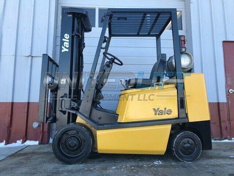 "1999 YALE GLC060TG 6000 LB LP GAS FORKLIFT CUSHION 187"" THREE STAGE MAST SIDE SHIFTER 7001 HOURS STOCK # BF9913469-MWWI - United Lift Used & New Forklift Telehandler Scissor Lift Boomlift"