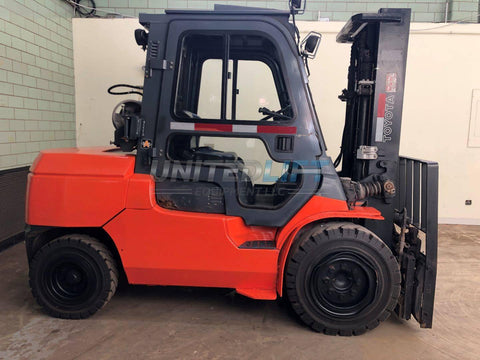 2009 TOYOTA 7FGU45 10000 LB LP GAS FORKLIFT PNEUMATIC 92/132 2 STAGE MAST SIDE SHIFTING FORK POSITIONER 13230 HOURS STOCK # BF9702419-BEMIN