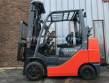 "2014 TOYOTA 8FGCU30 6000 LB LP GAS FORKLIFT CUSHION 189"" 3 STAGE MAST SIDE SHIFTER 5449 HOURS STOCK # BF9059849-MWWI"