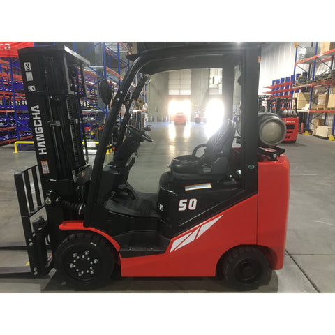 BRAND NEW 2018 HANGCHA IC-50 5000 LB FORKLIFT LP GAS CUSHION 85/185 3 STAGE MAST SIDE SHIFTER STOCK # BF9184759-249-BUF