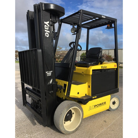2009 YALE ERC050 5000 LB 48 VOLT ELECTRIC FORKLIFT 84/240 QUAD MAST SIDE SHIFTER 2411 HOURS STOCK # BF9103649-179-IN