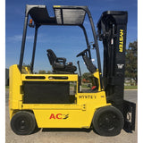 2010 HYSTER E80Z 8000 LB 48 VOLT ELECTRIC FORKLIFT CUSHION 92/195 3 STAGE MAST SIDE SHIFTER 2192 HOURS STOCK # BF9162539-249-INB