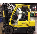 2009 HYSTER H60FT 6000 LB DIESEL FORKLIFT PNEUMATIC 90/187 3 STAGE MAST SIDE SHIFTER 5300 HOURS STOCK # BF913159-PEIL