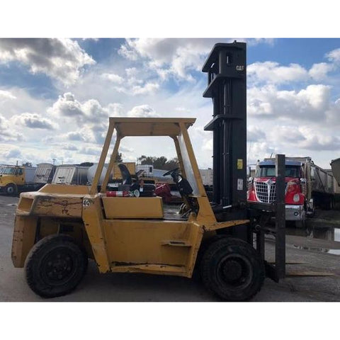 "1998 CAT DP70 15500 DIESEL FORKLIFT PNEUMATIC 143/197"" 2 STAGE MAST DUAL TIRES SIDE SHIFTER 5800 HOURS STOCK # BF92069-DPIL - united-lift-equipment"
