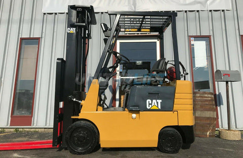 "1998 CATERPILLAR GC15 3000 LB LP GAS FORKLIFT CUSHION 185"" 3 STAGE MAST SIDE SHIFTER 8400 HOURS STOCK # BF9713249-MWWI"