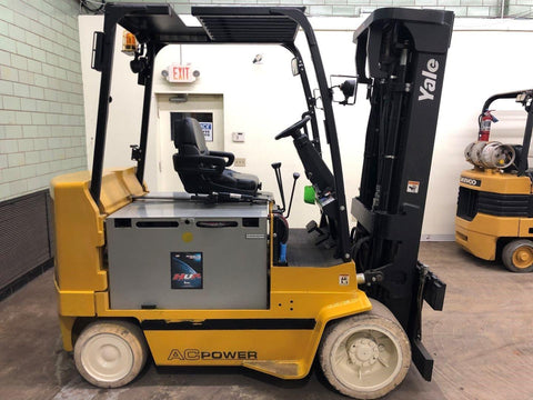 "2012 YALE ERC100HH 10000 LB 48 VOLT ELECTRIC FORKLIFT CUSHION 91/185"" 3 STAGE MAST 3346 HOURS STOCK # BF9091499-BEMIN"