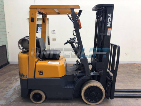 "2000 TCM FCG15-F9 3000 LB LP GAS FORKLIFT CUSHION 84/189"" 3 STAGE MAST SIDE SHIFTER 6280 HOURS STOCK # BF9020709-BEMIN"
