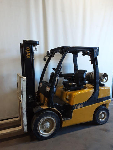 "2010 YALE GLP060VX 6000 LB LP GAS FORKLIFT PNEUMATIC 91/130"" 2 STAGE MAST SIDE SHIFTER 4102 HOURS STOCK # BF9232469-NCB - United Lift Used & New Forklift Telehandler Scissor Lift Boomlift"