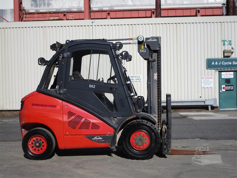 "2016 LINDE H45D 9000 LB DIESEL FORKLIFT PNEUMATIC 95/122"" 2 STAGE MAST SIDE SHIFTER HEATED CAB 7788 HOURS STOCK # BF9162669-ESPA"