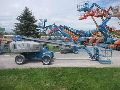 2013 GENIE S65 TELESCOPIC STRAIGHT BOOM LIFT AERIAL LIFT WITH JIB ARM 65' REACH DIESEL 4WD 4124 HOURS STOCK # BF9619389-HLNY