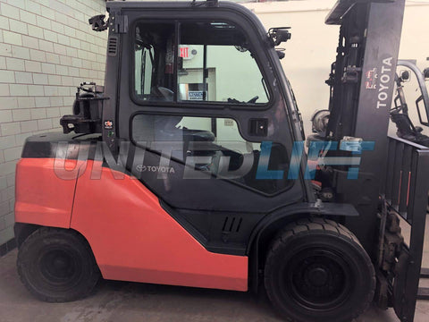 "2014 TOYOTA 8FG45U 10000 LB LP GAS FORKLIFT CUSHION 92/132"" 2 STAGE MAST SIDE SHIFTING FORK POSITIONER ENCLOSED CAB 16163 HOURS STOCK # BF9101939-BEMIN"